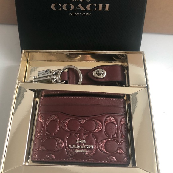 Coach Wine Color Card case and Key Ring NWT Box